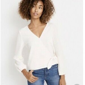 Madewell Texture and Thread White Wrap Top